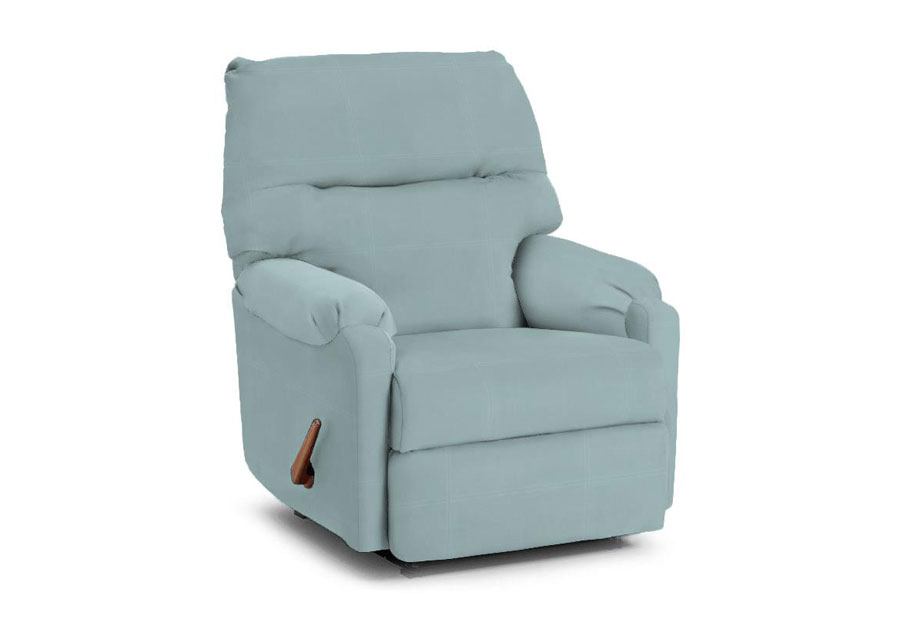 Best Jojo Light Blue Leather Match Rocker Recliner