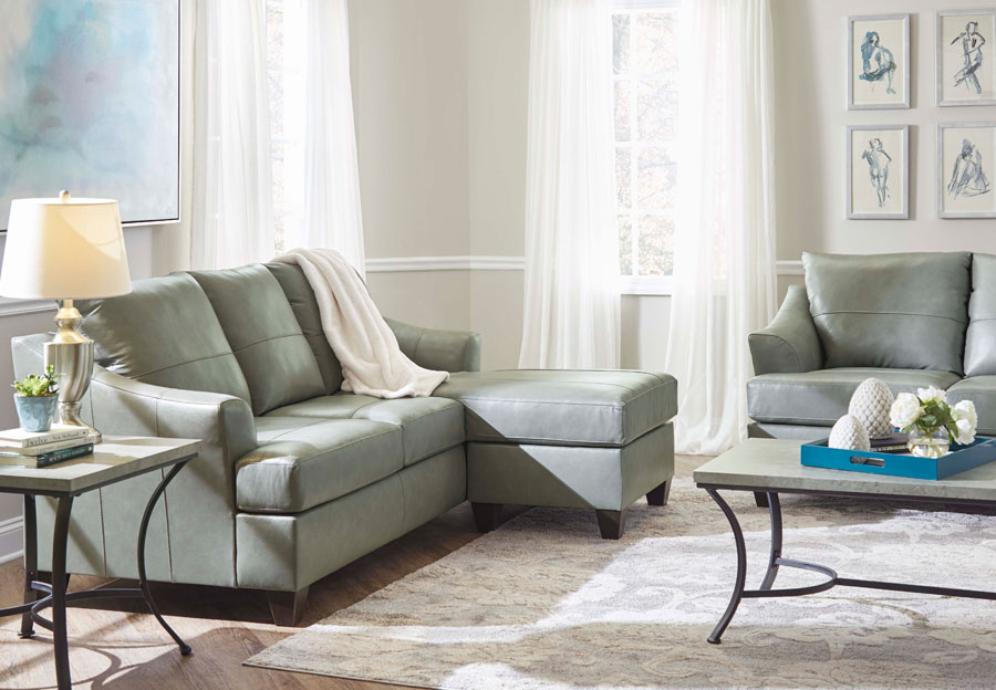 Lane Carlisle Silver Leather Match Sofa With Chaise and Loveseat