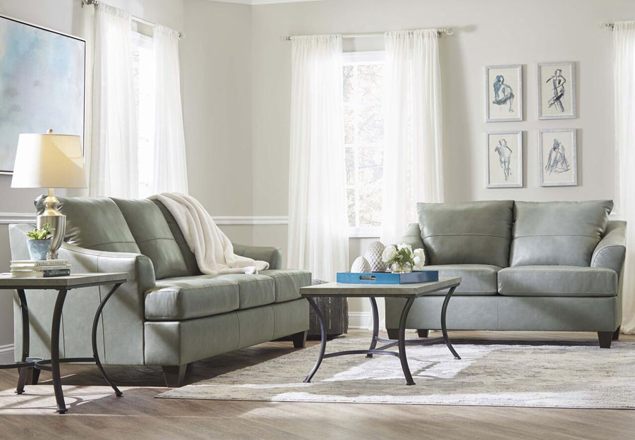 Lane Carlisle Silver Leather Match Sofa and Loveseat