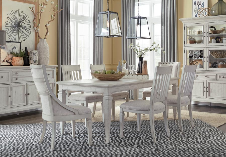 Magnussen Newport Rectangular Dining Table with Four Upholstered Side Chairs