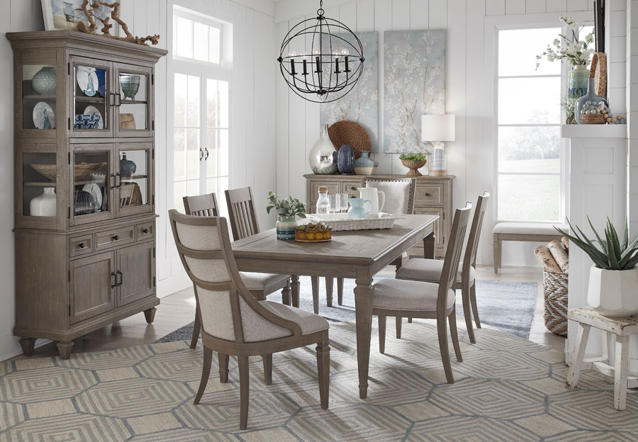 Magnussen Lancaster Rectangular Dining Table with Four Upholstered Side Chairs