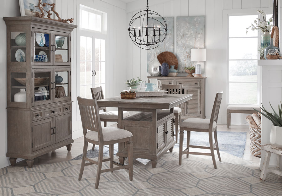 Magnussen Lancaster Counter Dining Table with Four Upholstered Counter Chairs