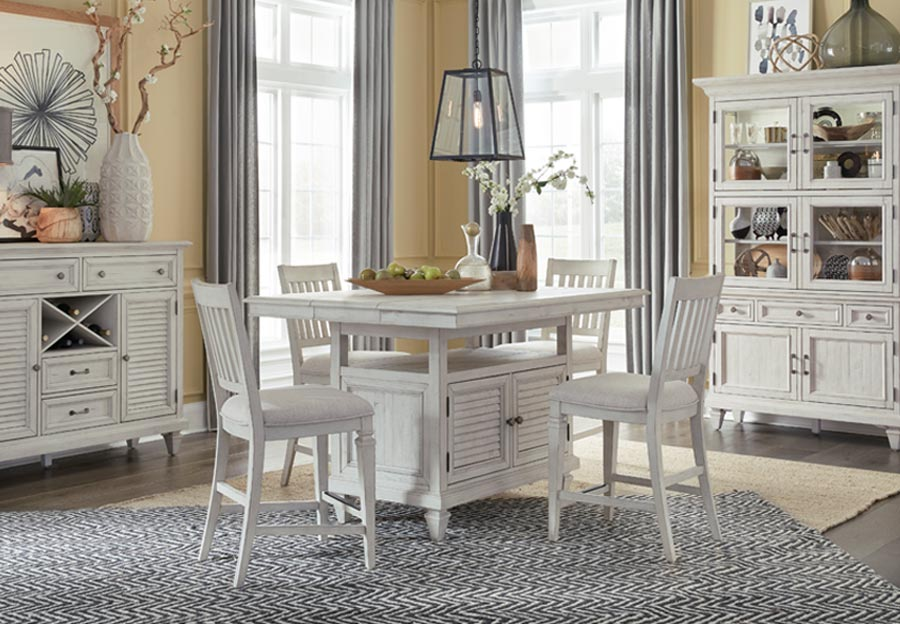 Magnussen Newport Counter Dining Table with Four Upholstered Counter Chairs
