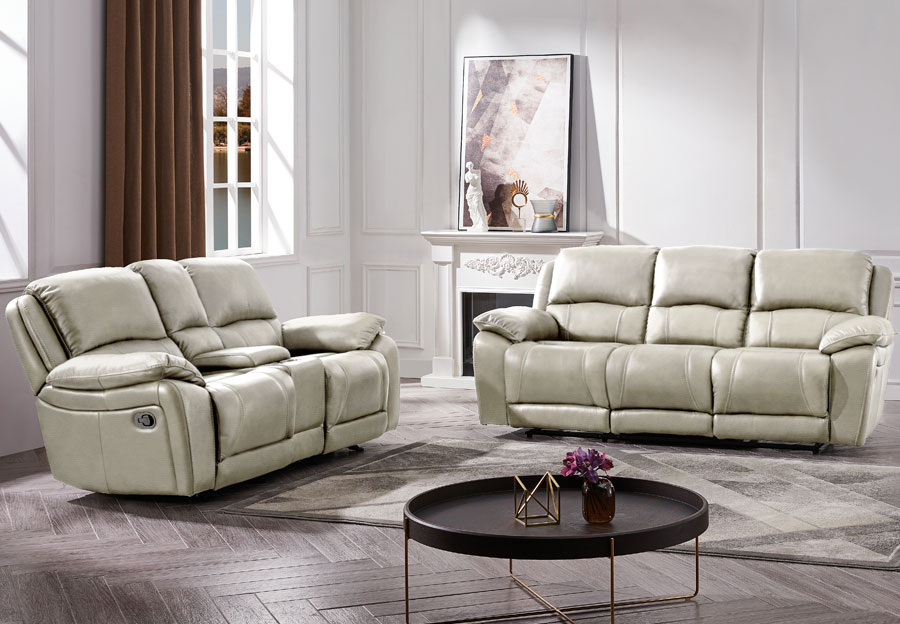 Cheers Princeton Bone Leather Match Manual Reclining Sofa and Reclining Console Loveseat