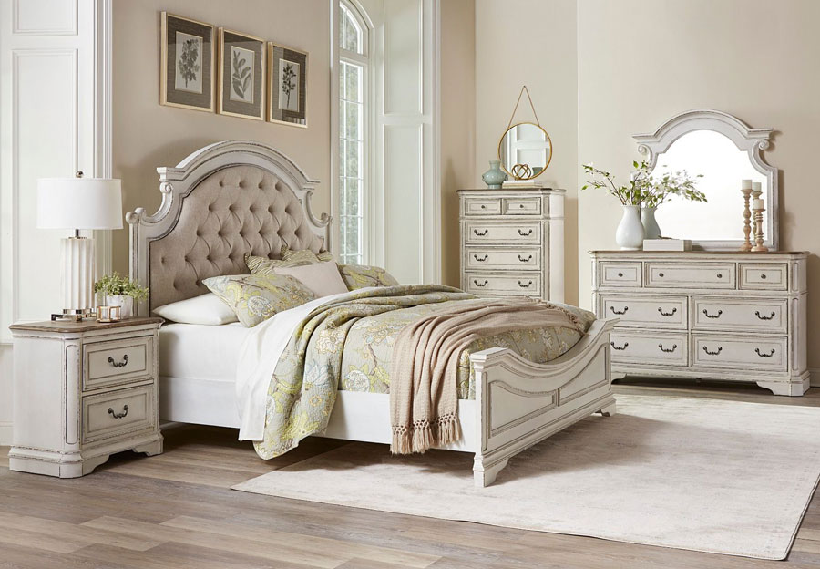 Lifestyle Stevenson Manor Antique White King Upholstered Bed, Dresser, and Mirror