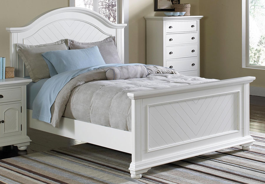 Elements Brook White King Headboard, Footboard, and Rails