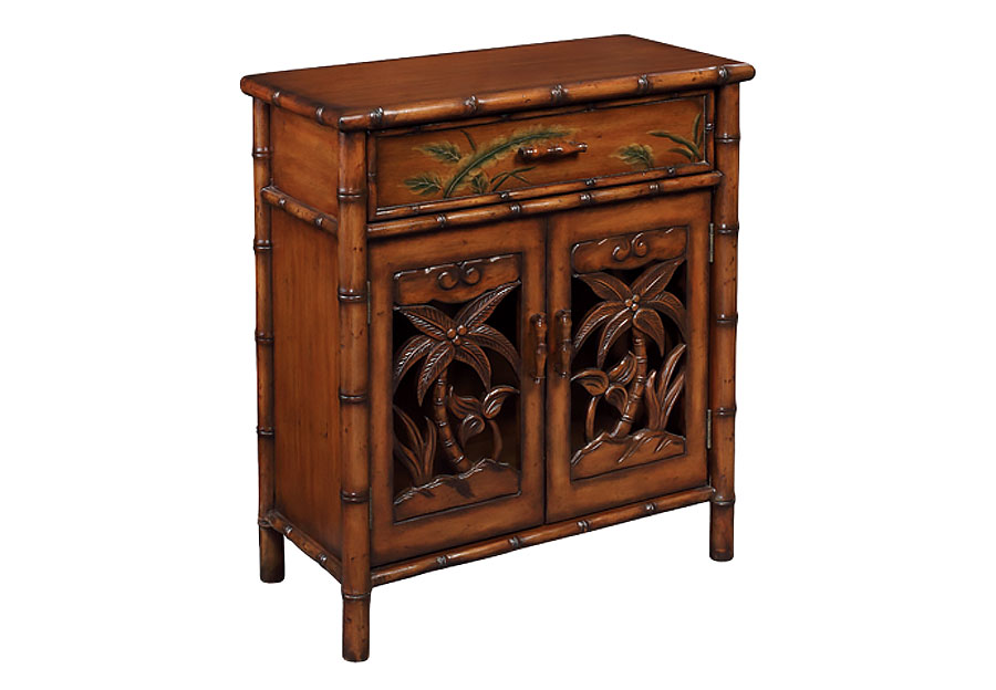 Coast To Coast One Drawer Two Door Cabinet With Hand Carved Palm Trees