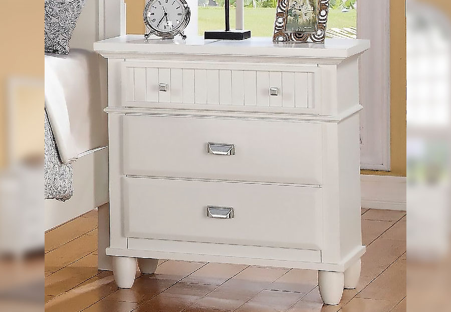 Elements Spencer White Nightstand