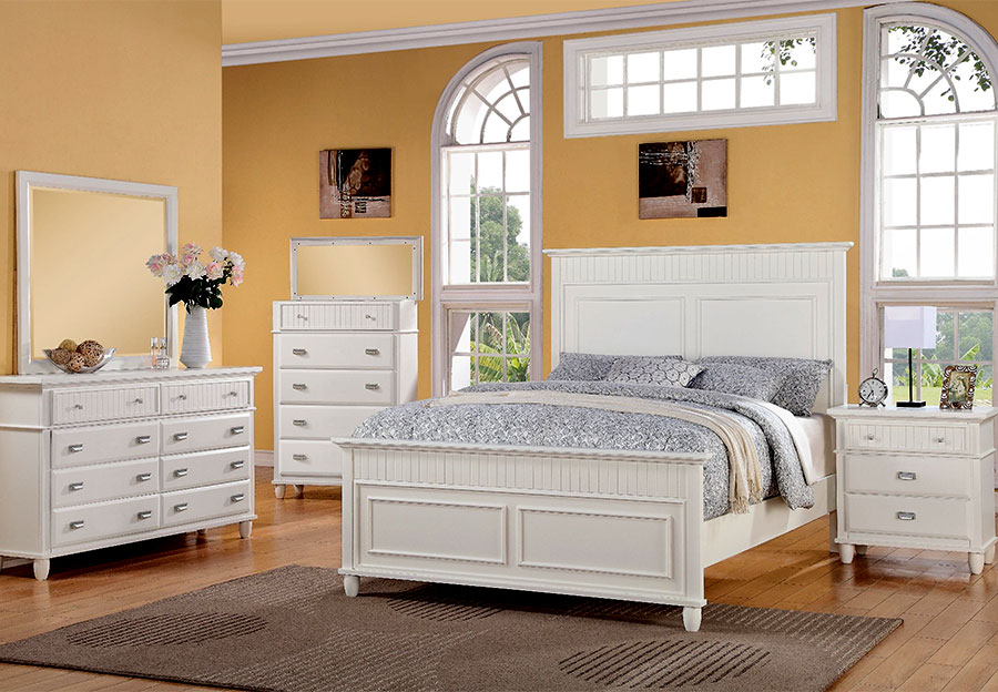 Elements Spencer White Queen Headboard, Footboard, Rails, Dresser, and Mirror