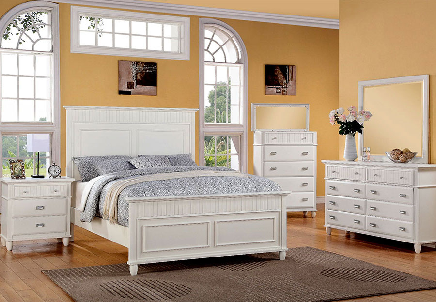 Elements Spencer White King Headboard, Footboard, Rails, Dresser, and Mirror