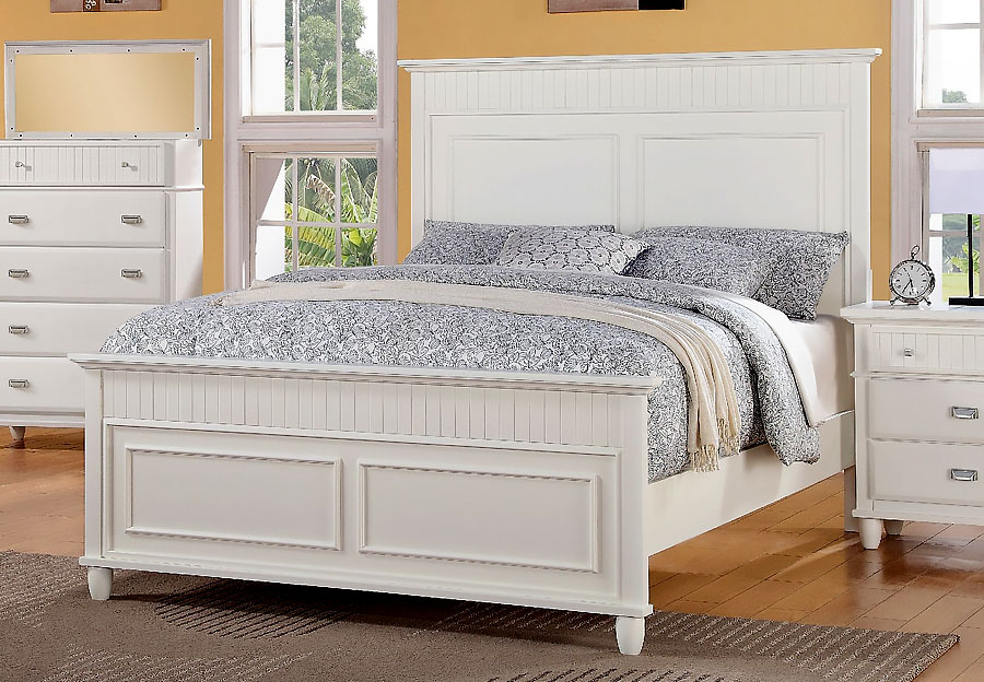 Elements Spencer White King Headboard, Footboard, and Rails
