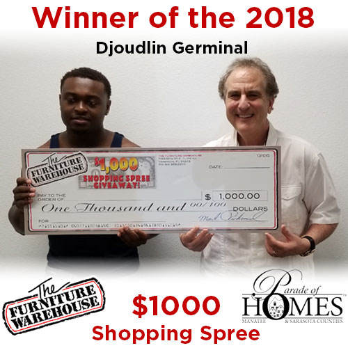 2018 winner of Parade of Homes $1000 Shopping Spree
