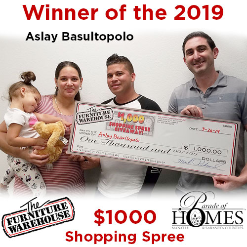 2019 winner of Parade of Homes $1000 Shopping Spree