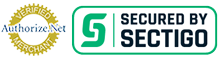 Secure Credit Card Processing Logo for Authorize dot net and Sectigo Secure Badge